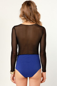 No Satisfaction Blue Bodysuit at Lulus.com!
