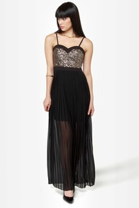 Gown and Out Black and Gold Sequin Maxi Dress