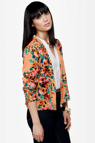 Flower Ranger Orange Floral Blazer at Lulus.com!