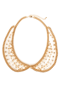 Pearl-igig Gold Pearl Collar Necklace at Lulus.com!