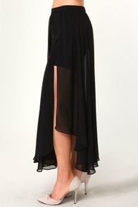 Doppio Black Maxi Skirt at Lulus.com!