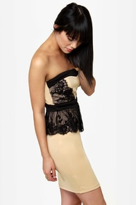 Round of Applause Strapless Beige Dress at Lulus.com!