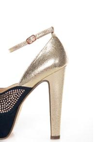 Michael Antonio Rowland Rose Gold Rhinestone Platform Heels at Lulus.com!