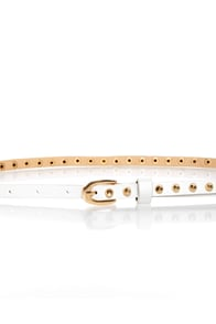 Danger Danger Studded Skinny White Belt
