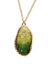Cool to the Core Green Crystal Necklace