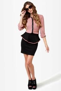 Quarterly Report Black Peplum Skirt