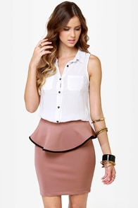 Quarterly Report Mauve Peplum Skirt