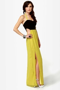 Black-Eyed Susan Black and Chartreuse Maxi Dress at Lulus.com!