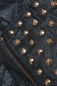 Moto Maven Studded Black Vegan Leather Jacket at Lulus.com!