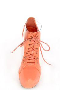 Privileged Jovana Coral Cutout Lace-Up Heelless Platforms at Lulus.com!