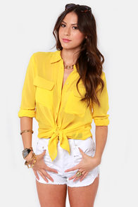 Three Cheers for Sheer Yellow Button-Up Top at Lulus.com!