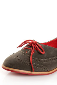 Dollhouse Spiffy Taupe and Red Two-Tone Brogue Oxfords