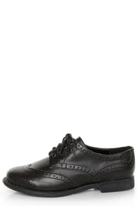 Dollhouse Trickster Black Brogue Lace-Up Oxfords