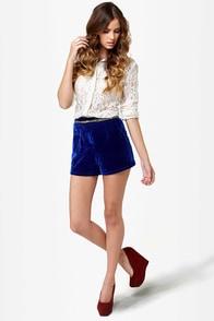 Velvety, Vidi, Vici Blue Velvet Shorts at Lulus.com!