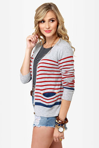Essay Contest Grey Striped Cardigan Sweater at Lulus.com!