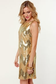 BB Dakota Malia Gold Sequin Dress at Lulus.com!