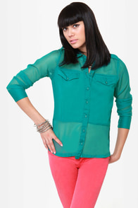 Hurley Cat\\\\\\\\\\\\\\\'s Eye Teal Button-Up Top