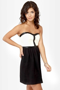 Sound the Alarm Black and Cream Strapless Dress at Lulus.com!
