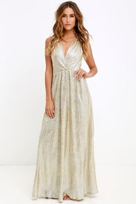 All that Shimmers is Gold Light Gold Maxi Dress