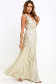 All that Shimmers is Gold Maxi Dress at Lulus.com!