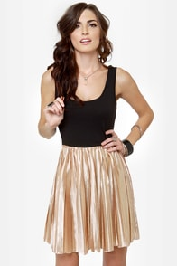 Lost Brite Rose Gold and Black Dress