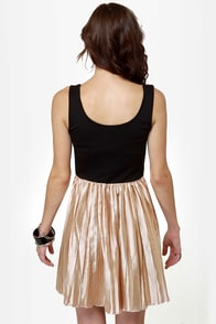 Lost Brite Rose Gold and Black Dress at Lulus.com!