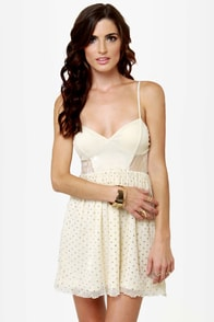Lost Violet Cream Glitter Lace Dress at Lulus.com!