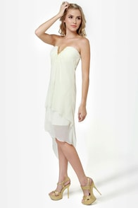 All About V Ivory High-Low Strapless Dress at Lulus.com!