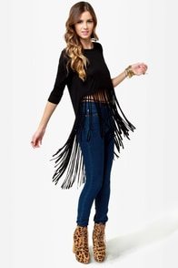 Front Cuts Black Fringe Top at Lulus.com!