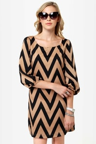 Continental Shift Black and Tan Shift Dress
