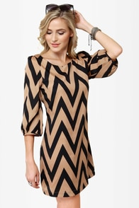 Continental Shift Black and Tan Shift Dress at Lulus.com!