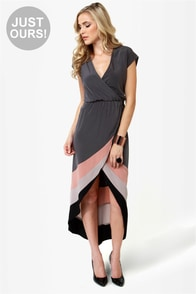 Perfect Pitch Grey High-Low Wrap Dress