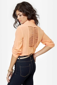 Rein-Vent Yourself Peach Cutout Top