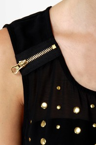 Have it All Studded Black Sleeveless Top