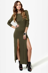 Down to There Backless Olive Green Maxi Dress