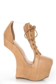 Privileged Jovana Tan Cutout Lace-Up Heelless Platforms at Lulus.com!