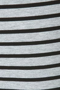 Shipshape Grey and Black Striped Dress at Lulus.com!