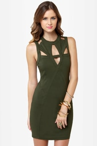 Peek of Destiny Cutout Olive Green Dress