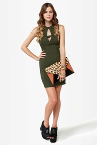 Peek of Destiny Cutout Olive Green Dress at Lulus.com!