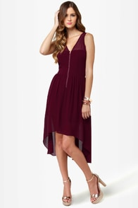 Nettin' to it Burgundy High-Low Dress at Lulus.com!