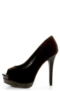 My Delicious Rigby Black Peep Toe Platform Pumps