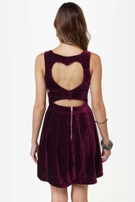 Heart-ware Store Cutout Burgundy Velvet Dress at Lulus.com!
