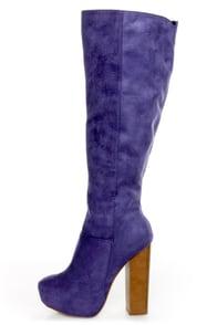 Ardiente Sole Freedom Plum Purple Platform Knee High Boots