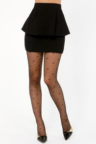 Tabbisocks Secret Admirer Heart Print Black Tights at Lulus.com!