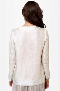 Lunar Landing Silver Knit Sweater at Lulus.com!