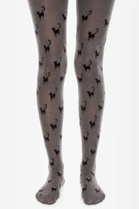 Tabbisocks Chat Noir Grey Cat Print Tights at Lulus.com!
