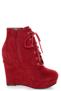 Promise Magnum Wine Red Lace-Up Wedge Booties at Lulus.com!