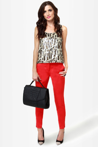 Zip It Good Red Skinny Pants
