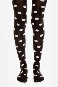 Tabbisocks Popping Dots Black and White Polka Dot Tights at Lulus.com!