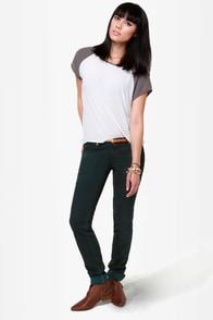 Quiksilver Lorne Dark Green Skinny Jeans at Lulus.com!